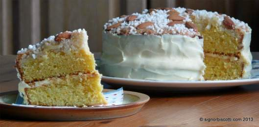 Torta Colombina - an intensely orangey cake with a crust of almonds and sugar